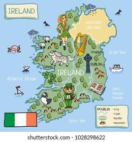 Kids Map Of Ireland.Cartoon Vector Doodle Map England Kids Stock Vector Royalty Free