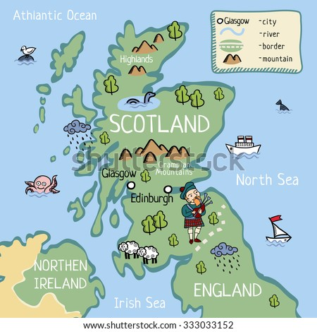 Cartoon Map Scotland Stockillustration 333033152 – Shutterstock