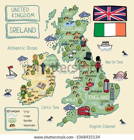 Map Of Ireland And The Uk.Cartoon Map United Kingdom Ireland Isolated Stock Illustration