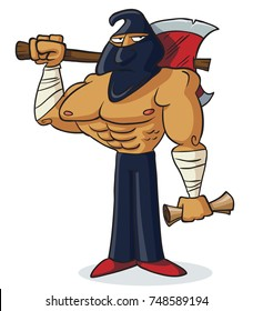 A cartoon masked executioner holding an axe.