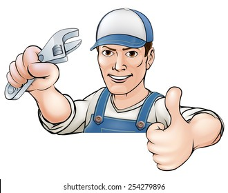 A cartoon mechanic or plumber giving a thumbs up