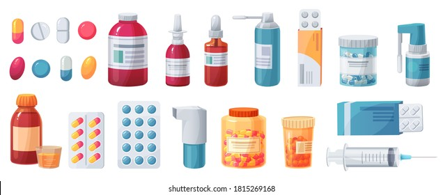 Cartoon medications. Medical drugs, tablets, capsules and prescription bottles. Blisters, syringe and painkiller drug  pharmacy set. Health care and medical cure, illness treatment