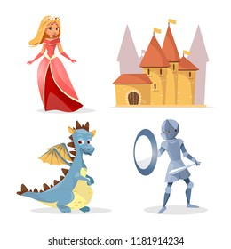 cartoon medieval fairy tale characters, creatures castle set. Illustration fantasy knight armor shield sword, cute mythical dragon, beautiful princess lady in dress crown, kingdom fort building