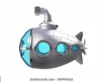 cartoon metallic submarine side view isolated on white. 3d illustration