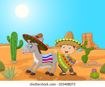 Cartoon Mexican boy with donkey in the desert background