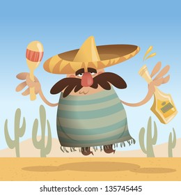 Cartoon mexican man with sombrero holding a bottle and maracas while jumping