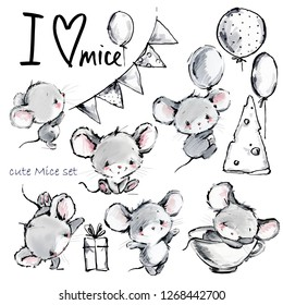 cartoon mice. Cute mouse illustrationset