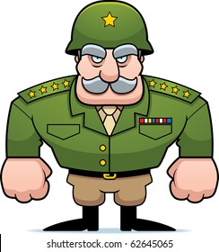 A cartoon military general with a helmet on.