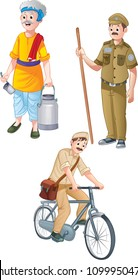 cartoon milkman watchman and postman illustration of