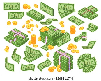Cartoon money. Dollar bills banknotes stack, pile of dollars and banknote heap abundance bundle. Cash bill green investment moneys piles for commercial banking  illustration isolated icon set