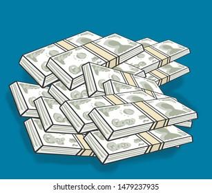 Cartoon money. Piles of cash. Stacks of thai baht. Bundles of money line art