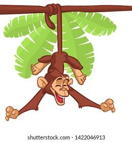 Cartoon Monkey Chimpanzee Hanging  On Wood Branch Illustration