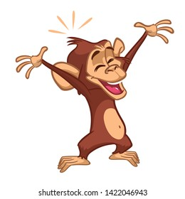 Cartoon monkey chimpanzee. Illustration of happy monkey character