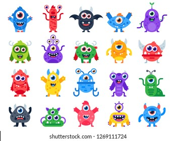 Cartoon monster. Cute happy monsters, halloween mascots and funny mutant devil and cyclops beast toys logo creature with horn and wing. Scary cheerful creatures character  flat isolated icon set