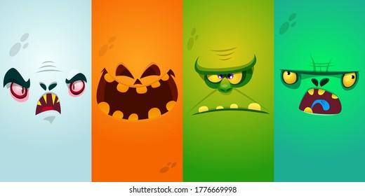 Das Kartoon-Monster ist mit Gesichtern besetzt. Kollektion von vier Halloween-Monster-Avataren mit unterschiedlichen Gesichtsausdrücken