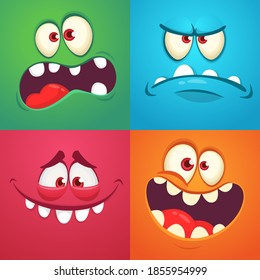 Cartoon monster faces set. Collection of four Halloween monster avatars with different face expressions