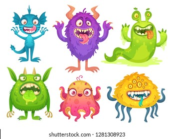 Cartoon monster mascot. Halloween funny monsters, bizarre goofy gremlin with horn and silly furry, alien creations. Cartoons fluffy creatures spooky character  isolated icon illustration set