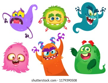 Cartoon Monsters collection. Set of cartoon monsters. Design for print, party decoration, t-shirt, illustration, logo, emblem or sticker