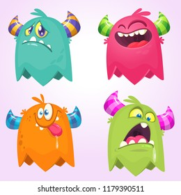 Cartoon Monsters. Set of cartoon monsters. Design for print, party decoration, t-shirt, illustration, logo, emblem or sticker