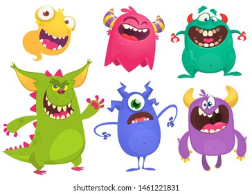Cartoon Monsters. Set of cartoon monsters. Design for print, party decoration, t-shirt, illustration, logo, emblem, package or sticker