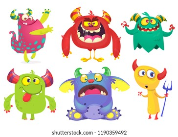 Cartoon Monsters set. Ghost, troll, gremlin, goblin, devil and monster
