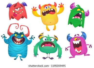 Cartoon Monsters set. Ghost, troll, gremlin, yeti or bigfoot,  goblin, devil and monster