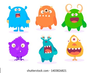 Cartoon Monsters set for Halloween.  set of cartoon monsters isolated. Design for print, party decoration, t-shirt, illustration, logo,