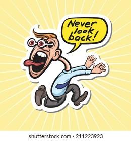 cartoon motivation sticker - never look back