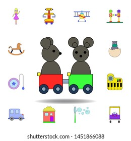 cartoon mouse train toy colored icon. set of children toys illustration icons. signs, symbols can be used for web, logo, mobile app, UI, UX