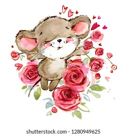 cartoon mouse watercolor illustration. cute mice.