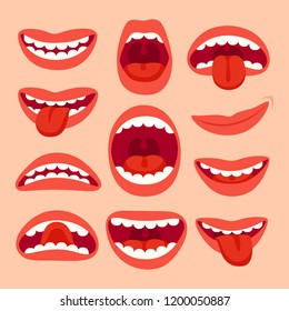 Cartoon mouth elements collection. Show tongue, smile with teeth, expressive emotions, smiling, shouting mouths and phonemes  set isolated