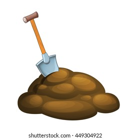 Cartoon mud hole and shovel in pile of mud - isolated - illustration for children