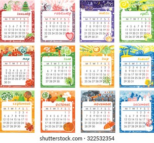 Cartoon multicolored calendar of 2016