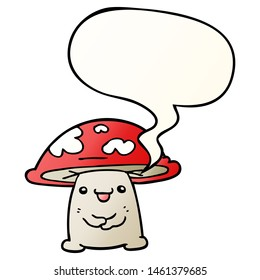 cartoon mushroom character with speech bubble in smooth gradient style