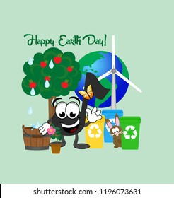 Cartoon music note with a butterfly flying around it, celebrating Earth Day,