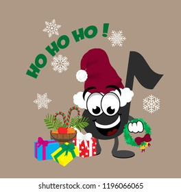 Cartoon music note celebrating christmas,  wearing a santa hat and holding a wreath standing next to a pile of presents, a bucket of carrots, apples, and candy canes, with snow falling in background.