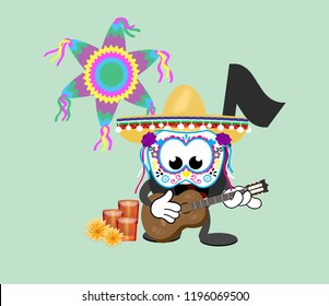 Cartoon music note celebrating the Day of the Dead,  wearing a sombrero and decorative mask while playing the guitar with candles, flowers and a piñata in the background.