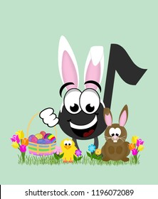 Cartoon music note celebrating easter wearing bunny ears and holding a basket full of decorated eggs, next to a rabbit and baby chick, surrounded by tulips.
