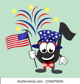 Cartoon music note celebrating the Fourth of July wearing top hat and tuxedo, and holding an American flag with fireworks in the background.