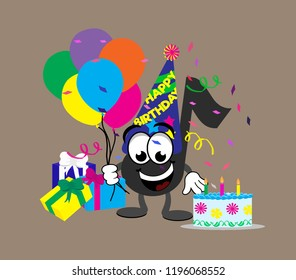 Cartoon music note celebrating a happy birthday, holding balloons and wearing a birthday hat next to a pile of presents and birthday cake, with streamers and confetti in the background.