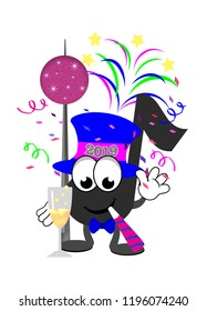 Cartoon music note celebrating New Year's Eve wearing a top hat, bow tie, blowing a noise maker, with a big ball, fireworks, and confetti in the background.