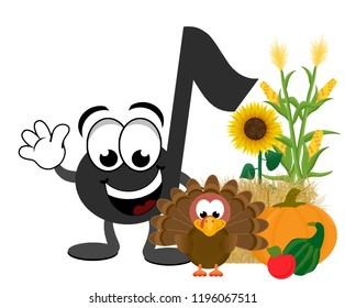 Cartoon music note celebrating thanksgiving, standing next to a turkey, pumpkin, gourd, apple, corn, hay bale and sunflowers.