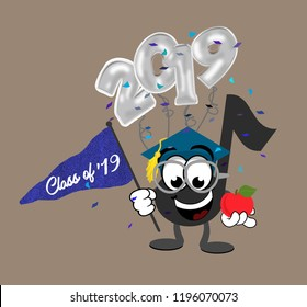 Cartoon music note graduate wearing glasses and a cap, while holding a pennant flag and an apple, with 2019 balloons and confetti in the background.
