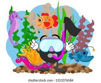 Cartoon music note with a mask and snorkel standing in front of corals and seaweed next to an angler fish, gold fish, eel, and seahorse.