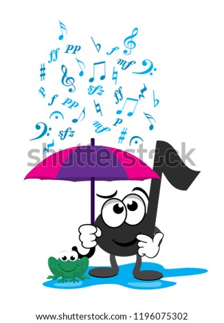 A cartoon music note standing in a puddle of water next to a frog, while holding an umbrella as different music symbols fall from the sky like rain.