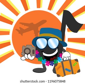 A cartoon music note wearing a hat, sunglasses and hawaiian lei while holding a camera and a suitcase. There is an airplane and the sun in the background.