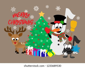 Cartoon music notes celebrating christmas.  A music note snowman holding a broom and wearing a top hat, a smiling note holding a snowflake, and a reindeer, all standing next to a christmas tree.