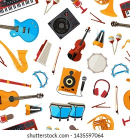 cartoon musical instruments pattern or background illustration. Music cartoon pattern, musical instrument
