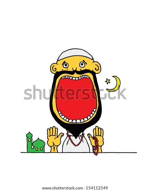 Cartoon of a Muslim boy wearing a skullcap and worship attire with his mouth wide open with blank space for text.