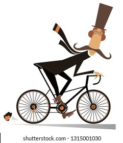 Cartoon mustache man in the top hat rides on the bicycle isolated on white illustration